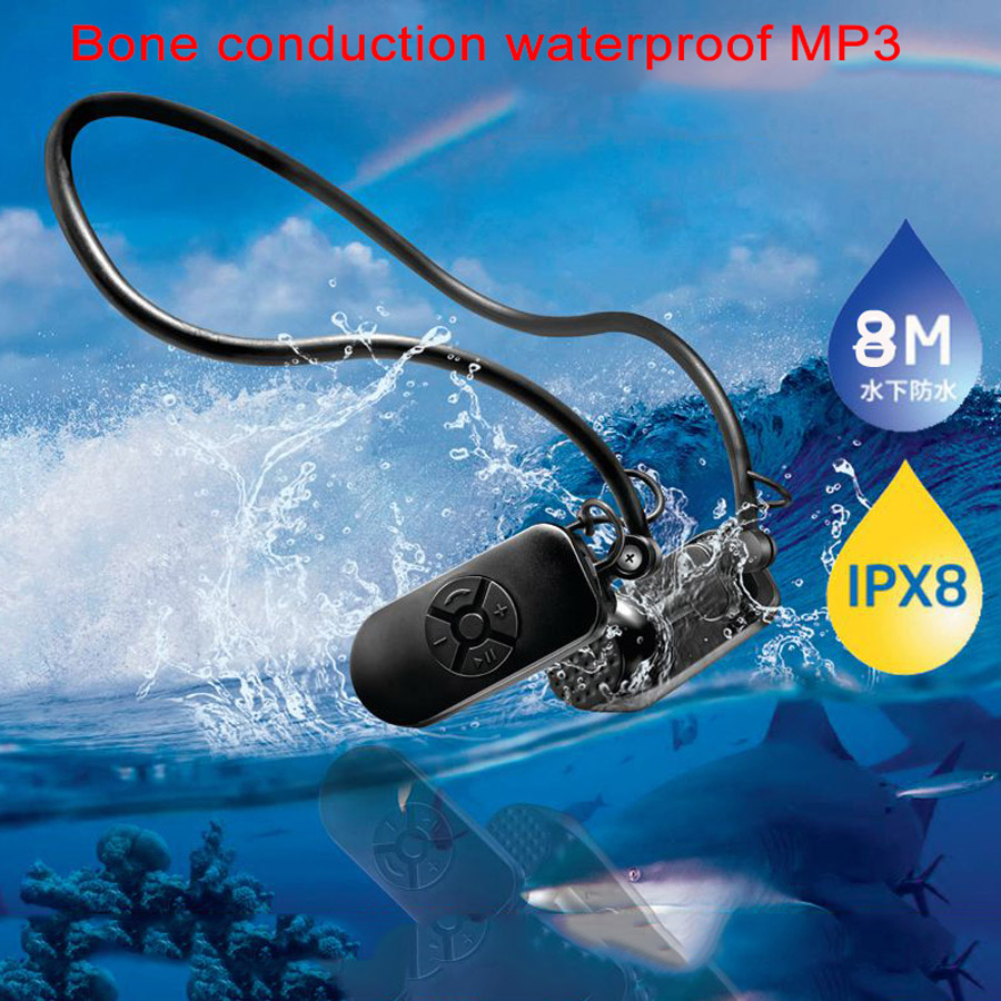 Newest APT X V30 Bone Conduction 4G 8G HIFI MP3 Player IPX8 Waterproof Swimming Outdoor Sport Earphones 3.5mm MP3 Music Players