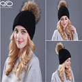 Women's Winter Warm Crochet Genuine Fur Ball Knitting Hats Beret Ski Beanie Caps (Adjust Size:57-60cm)