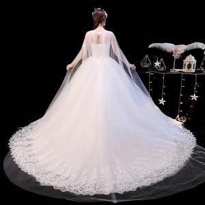 Image 5 - 2019 Nieuwe Off White O Hals Lange Trein Trouwjurk Mooie Lace Applique Illusion Lace Up Trouwjurk Vestido De noiva L