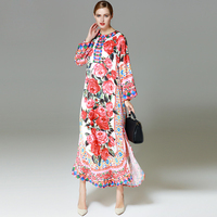 High Quality 2017 Runway Designer Holiday Maxi Long Dress Women S Flare Sleeve Rose Floral Printed