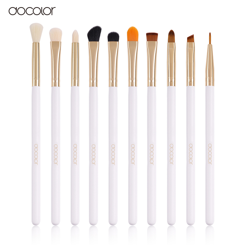 docolor Professional 10 Pcs/Sets Eye Shadow Concealer Eyebrow Lip Brush Makeup Brushes Comestic Tool Make Up Eye Brushes Set 24pcs white professional makeup brushes set pro kits kabuki cosmetics foundation eyebrow eye shadow concealer blusher brush tool