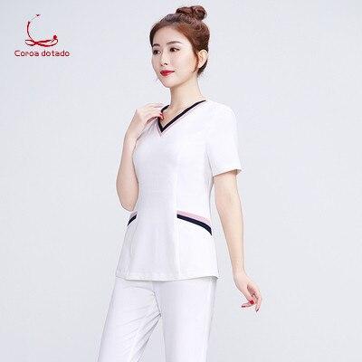 Spring And Summer 2019 New Nurse Short Sleeve Women's Beauty Salon Work Clothes Hotel Technician Sauna Service