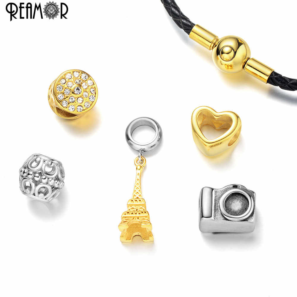 REAMOR Fashion Women Plating Gold Eiffel Tower Charm Beads Bracelet Jewelry Travel Style Genuine Leather Braided Chain Bracelets