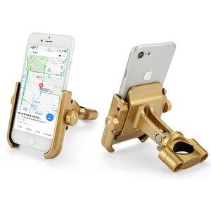 Image 5 - Universal Aluminum Alloy Motorcycle Phone Holder For iPhoneX 8 7 6s Support Telephone Moto Holder For GPS Bike Handlebar Holder