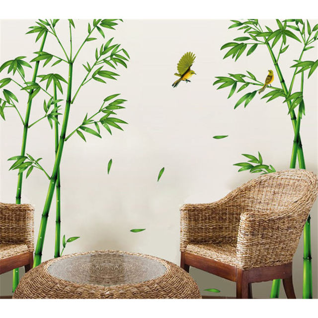Chinese Style Stick Bamboo Forest Depths Stikers Home Decor Bathroom Sofa  Wall Stickers Decals Adesivo De