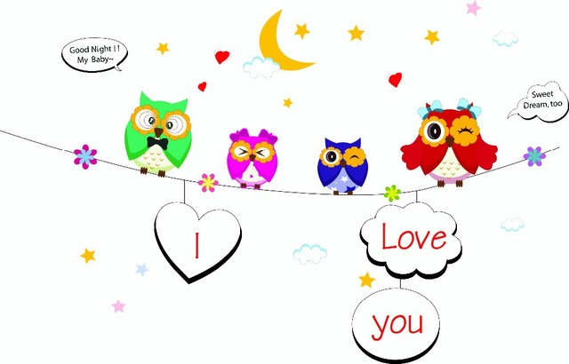 Free Shipping Carton Cute Owl Nursery Wall Stickers Removable Photo Frame Decals Room Decoration Zypb
