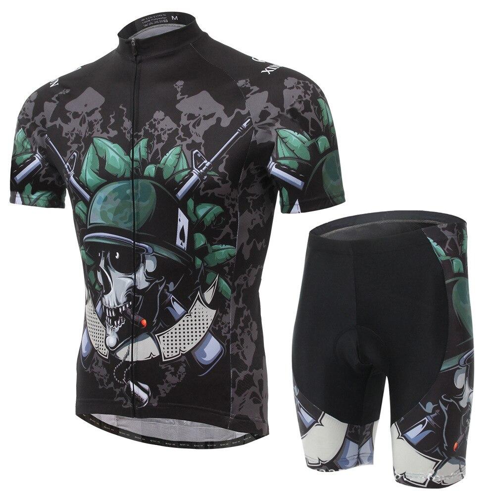 XINTOWN squelette soldat 2016 hommes cyclisme Jersey hommes à manches courtes vélo vélo vêtements vêtements de vélo chemises en plein air vtt