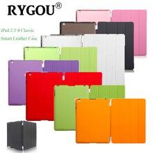 RYGOU Delgado Caso de Cuero Magnético de Smart Cover Para Apple iPad 2 3 4 Pu Cubierta Delantera + PC de Nuevo Caso para iPad2 iPad3 iPad4