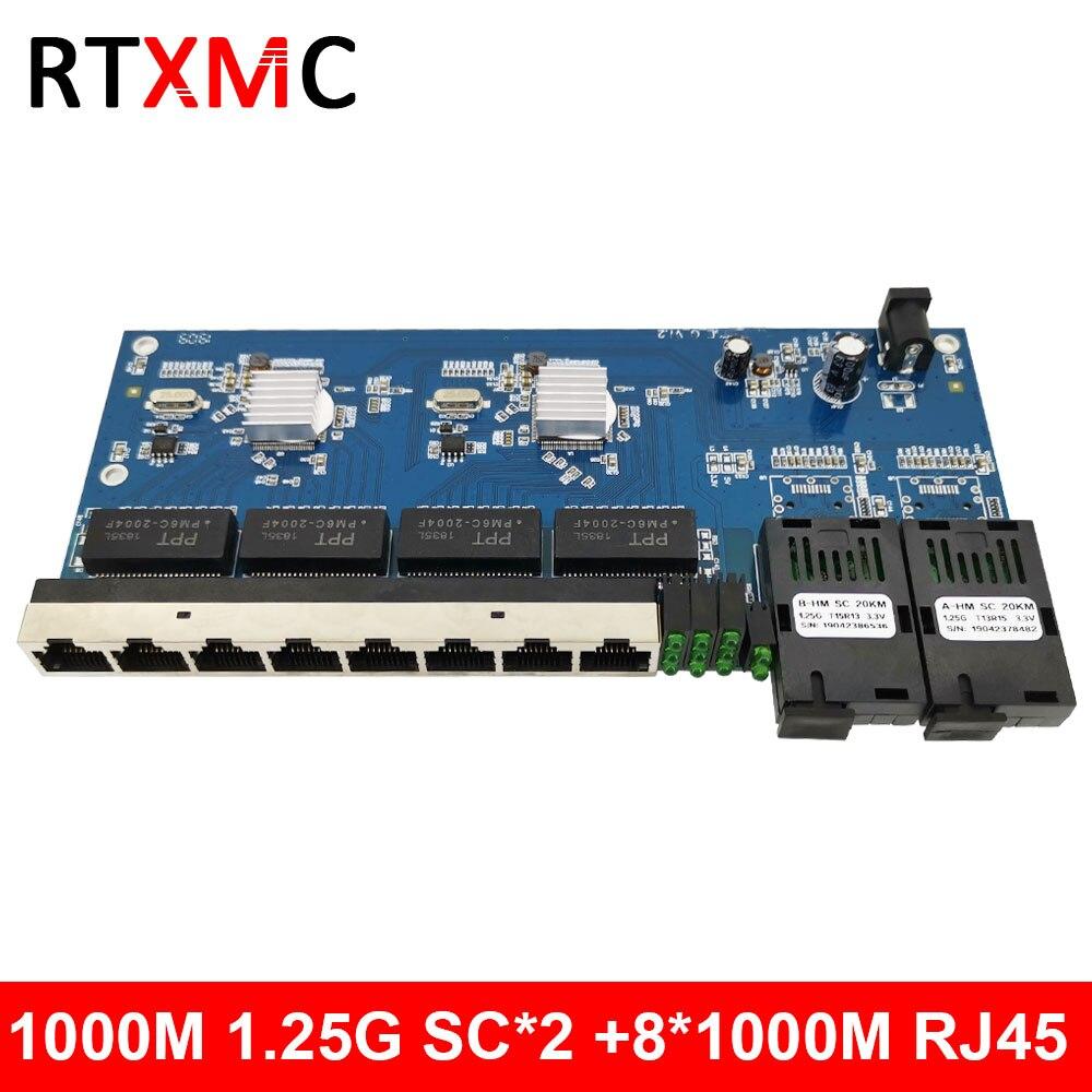 2G8E 8UTP RJ45 гигабитный Ethernet коммутатор 2*1,25G волоконный порт SC разъем 8*10/100/1000 м PCBA плата Fibra оптический конвертер пластина