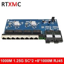 2G8E 8UTP RJ45 Gigabit Ethernet Switch 2*1.25G Fiber port SC connector 8*10/100/1000M PCBA Board  Fibra optical Converter plate