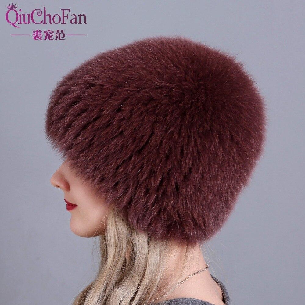 women winter fur hat genuine fox fur hats knitted silver fox fur caps female russian bomer caps free shipping