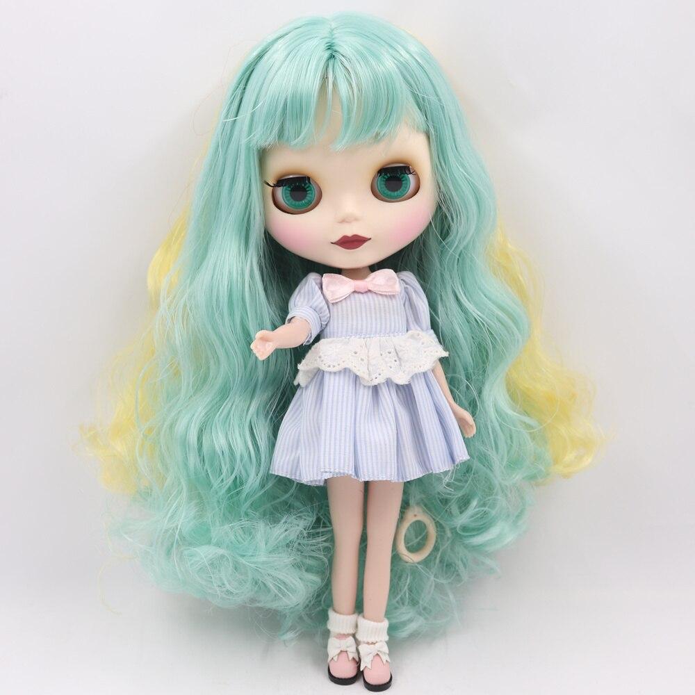 Nude, ale naga lalka Blythe dla serii No.280BL40061200 zielony mix żółty włosy z grzywką 1/6 bjd w Lalki od Zabawki i hobby na  Grupa 2
