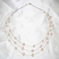New Designs Wedding Women Bridal Girl Natural Real Freshwater Pearl Necklace Pearl Beaded 3 Strand Multilayer