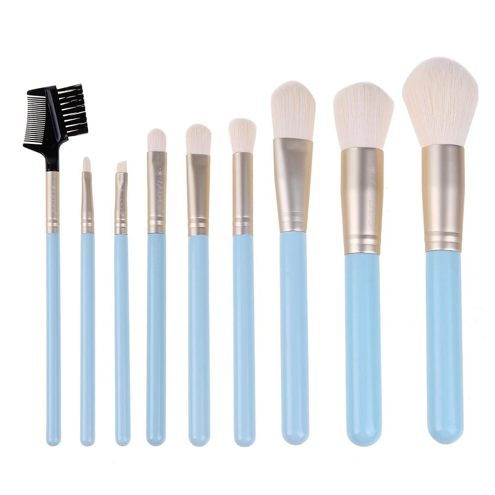 9Pcs Pro Makeup Brushes Face Foundation Powder Blush Contour Concealer Highlighting Eye Shadow Eyebrow Brush with Cosmetic Bag mac splash and last pro longwear powder устойчивая компактная пудра dark tan