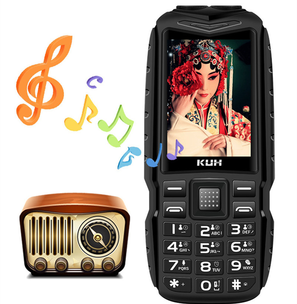 Long Standby KUH T3 Dual Sim Cards GSM Rugged Big Mobile Phone 2.4inch Dual Flashlight 13800mAh Power Bank Big Voice CellPhone