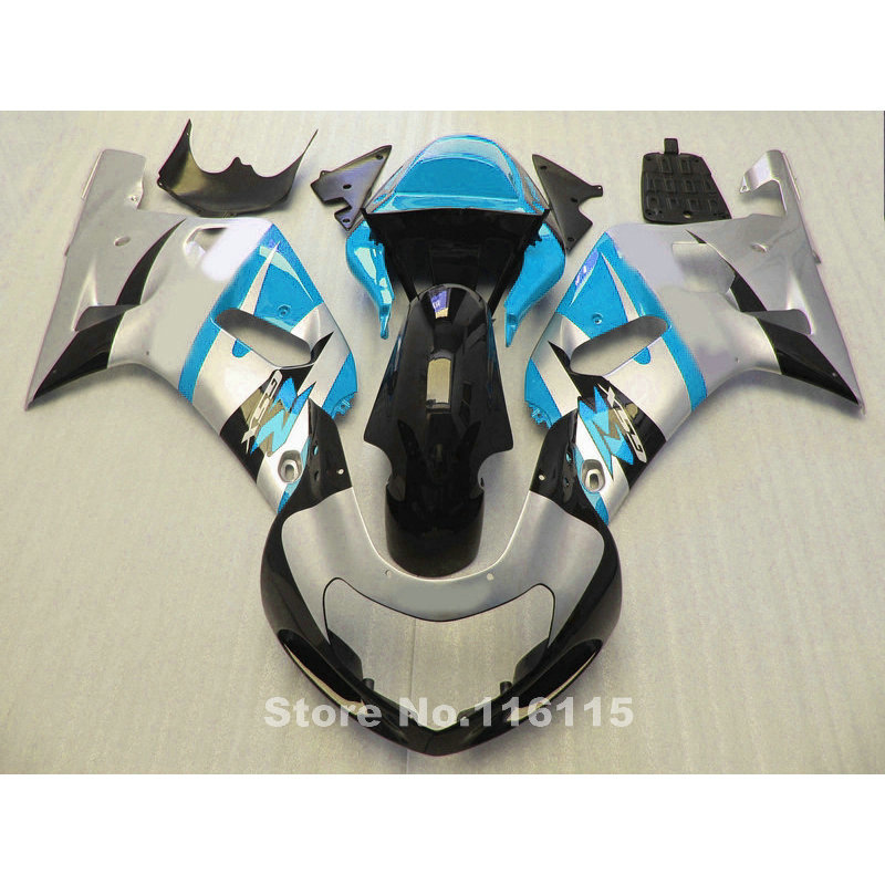 Fairing kit for SUZUKI GSXR 600 GSXR 750 K1 2001 2002 2003 fairings GSXR600 750 01 02 03 blue silver black motorcycle parts TY67 lowest price fairing kit for suzuki gsxr 600 750 k4 2004 2005 blue black fairings set gsxr600 gsxr750 04 05 eg12