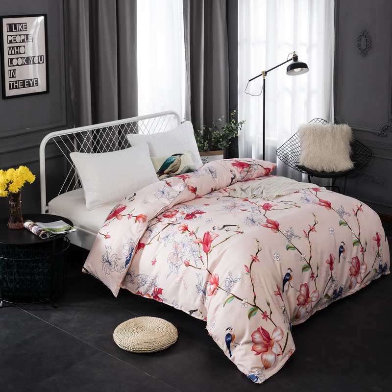 Floral Birds Egyptian Cotton Duvet Cover Twin Full Queen King Size Quilt Cover with Zipper 1 Piece Single Double Comforter Cover