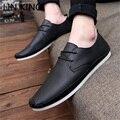 LIN REY Hombres Pisos Casual Low Top Zapatos Perezosos Sólido Cuero transpirable Zapatos Sin Cordones Punta Redonda de Tobillo Corto Simple Chaussure