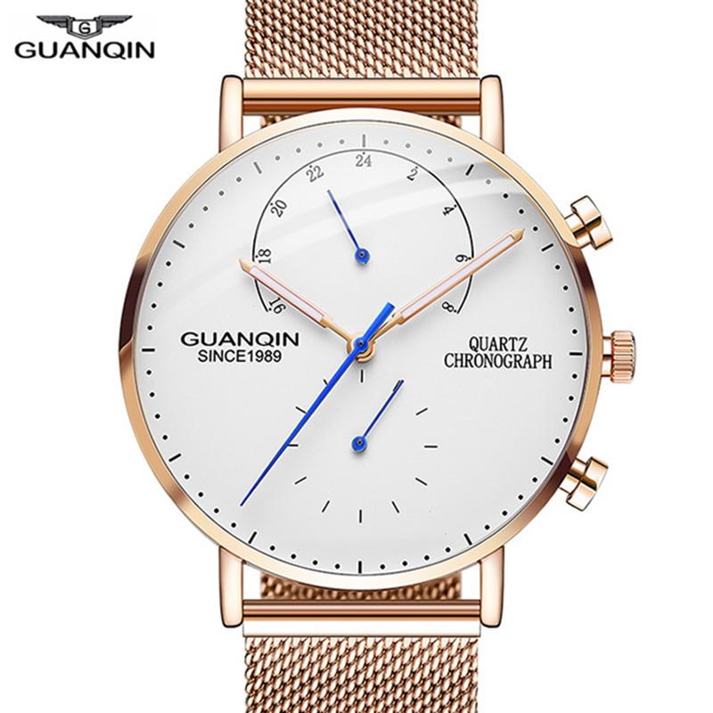 GUANQIN 2018 Fashion Casual Men Watches Top Brand Quartz Watch Chronograph Luminous 24 hours Clock Men Simple Relogio Masculino
