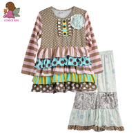 CONICE NINI Brand Fall Winter Baby Boutique Outfits Cotton Stripe Dots Pattern toddler girls outfits for daily wearing F134