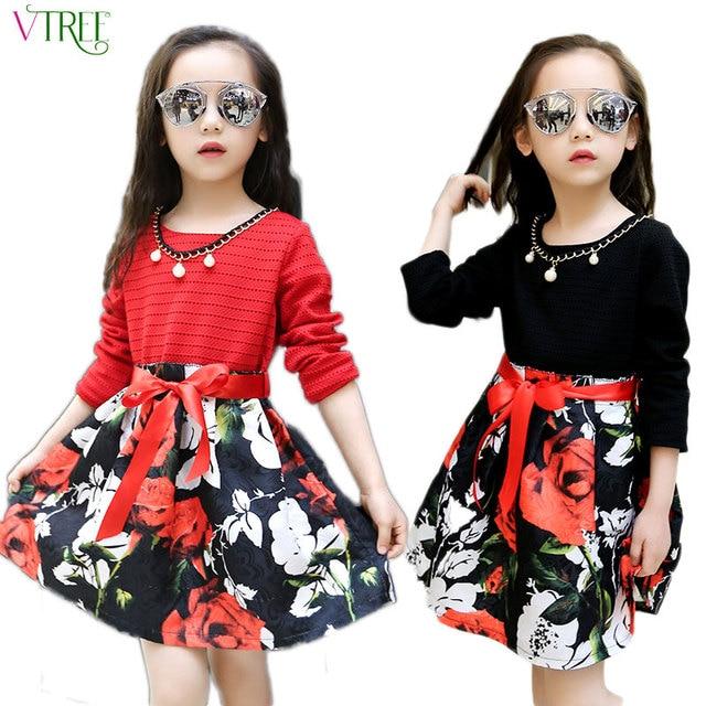 e29e2ec3b V-TREE moda niñas vestido niña Vestido de manga larga algodón niños vestidos  para niñas