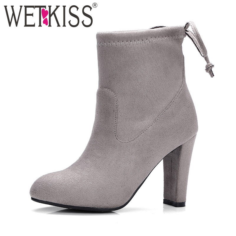 WETKISS Latest Fashion 9 Colors Woman Ankle Boot Stretch Flock Round toe High Heels Lady Boot Lace Female Booties Women Shoes