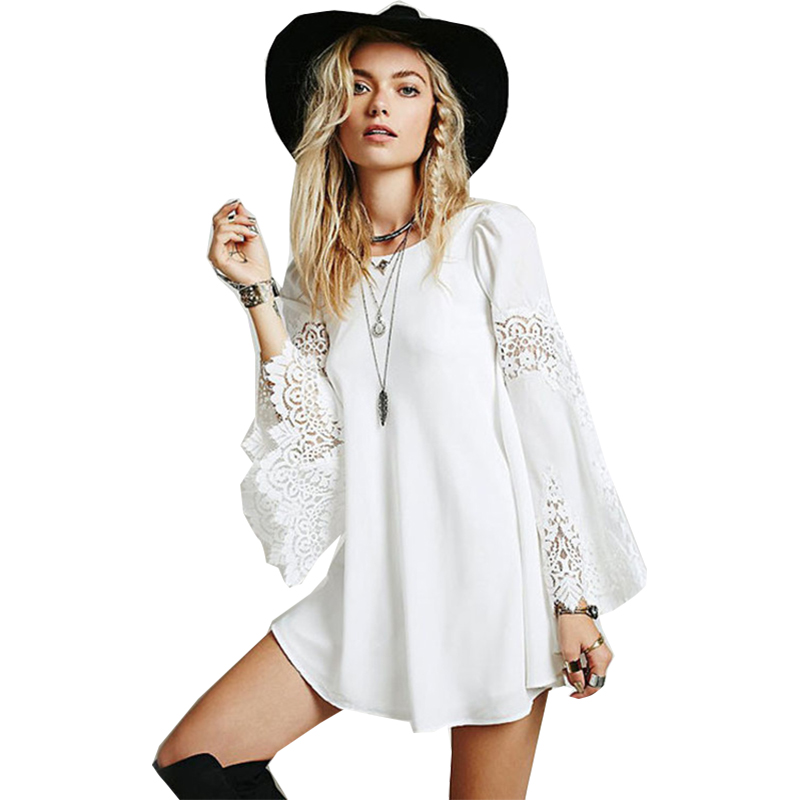 Professional Sale Blouse Women 2019 Lace Solid Color Loose Fashion Chiffon Stitch Lace Long Sleeve A-line Shirt Vestidos Blk8150 Blouses & Shirts