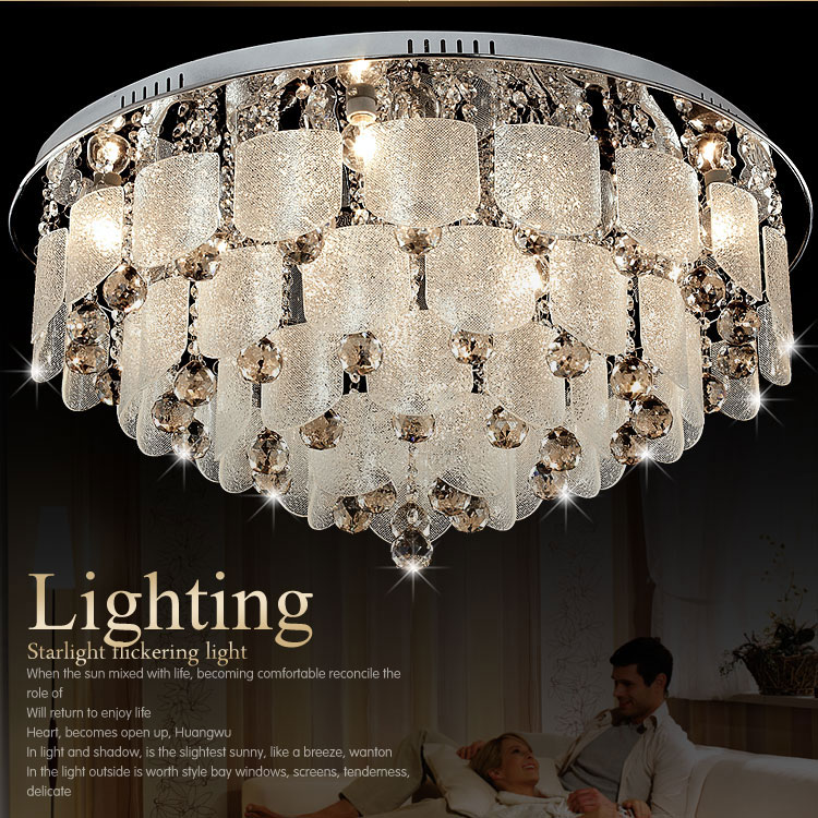 Ceiling light crystal lamp circle living room