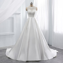 Vintage wedding dress scoop vestido de noiva chapel train long wedding Grown Custom made marriage dress Sashes dress for wedding(China)