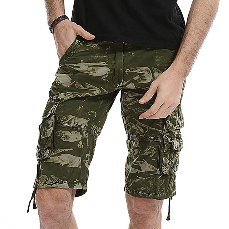 86 Mens Loose Short Trousers Casual Camouflage Print Comfortable Cargo Summer Multi-pocket cotton Overalls Plus Size shorts 40