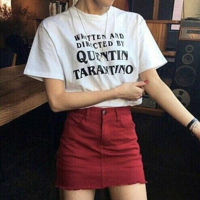 Quentin Tarantino T Shirt Women Written And Directed Tops Tee Shirt Femme Summer Cotton Funny T-shirt Harajuku Tshirt Gifts 2018