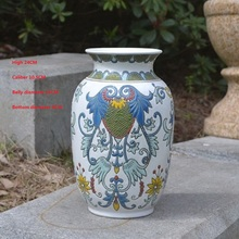 Embossed ceramic vases new classical Chinese porcelain flower ornaments and study decorations