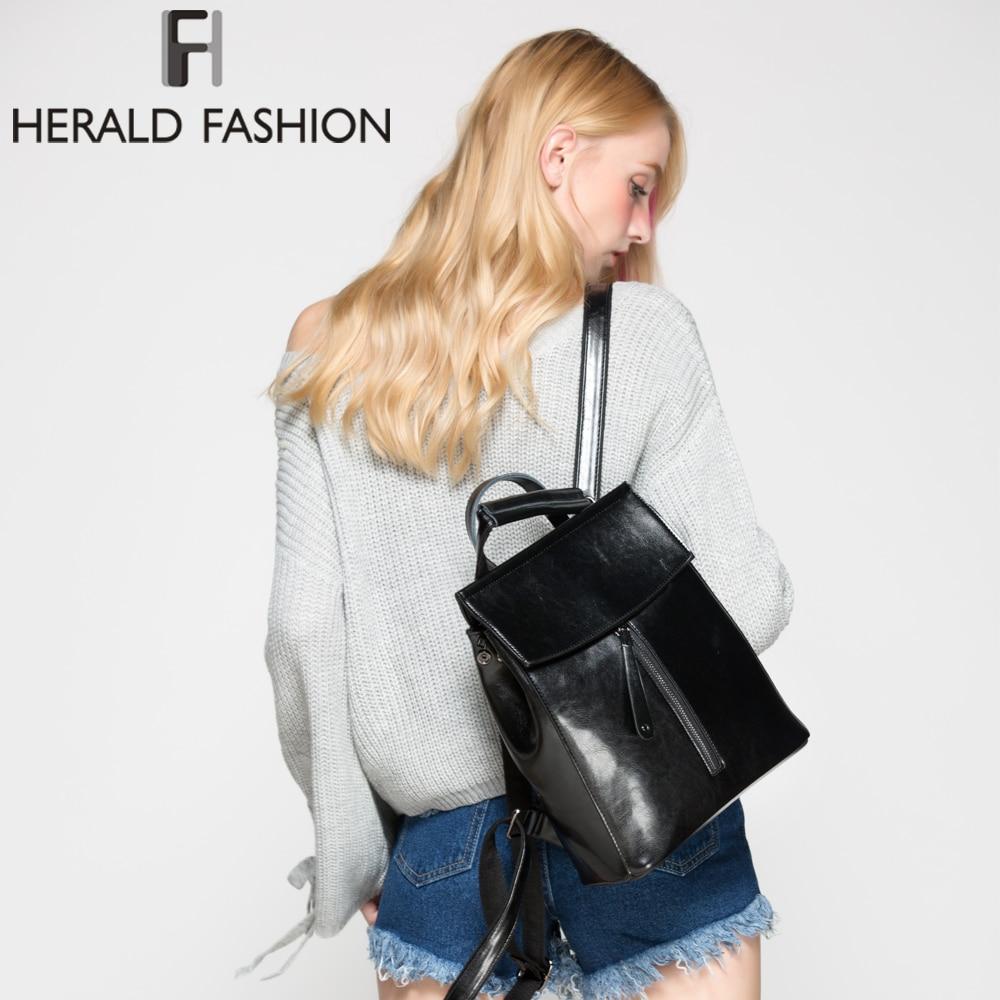 Herald Fashion Genuine Leather Backpack Vintage Cow Split Leather Women Backpack Ladies Shoulder Bag School Bag For Teenage Girl #2