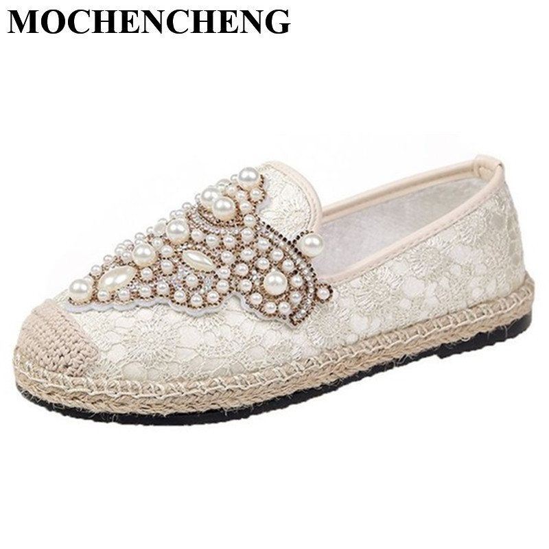 New Flat Shoes Women Fisherman Loafers with Pearl Decor Spring Summer Breathable Mesh Slip-on Casual Footwear Ladies Stylish 5