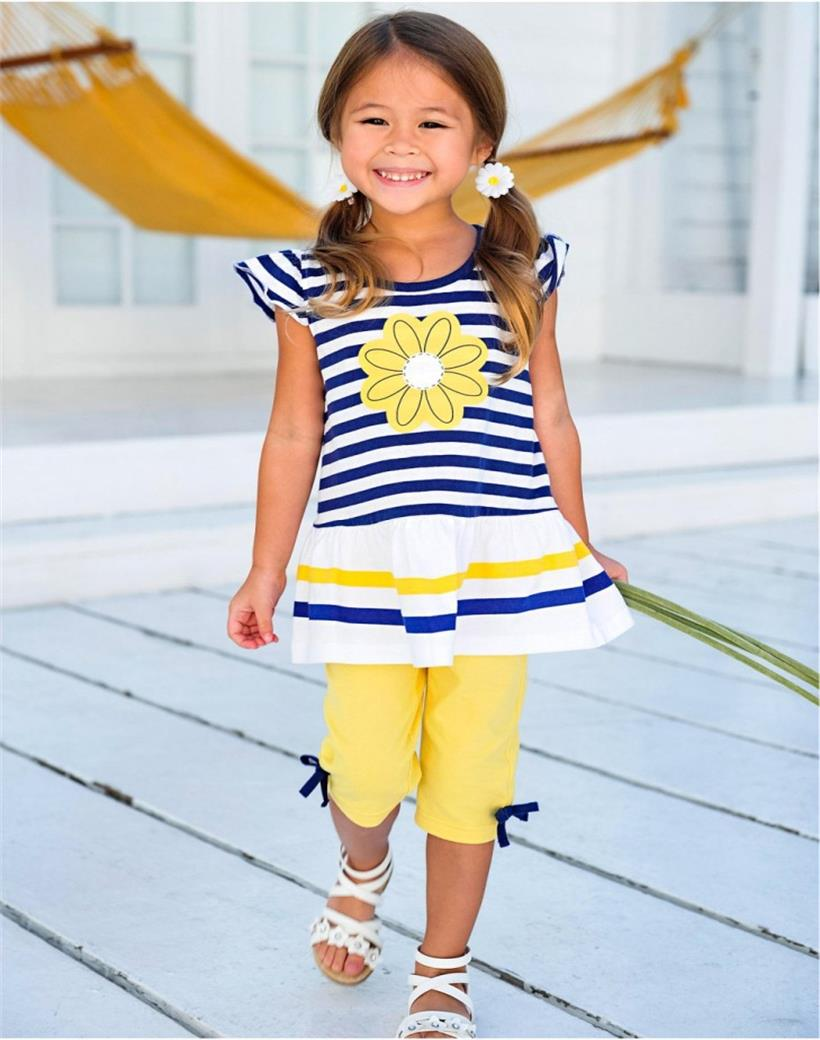 Summer Girls Clothing Sets Baby Kids Clothes Suit Children Sleeveless Striped T-Shirt +Pants roupas i 1