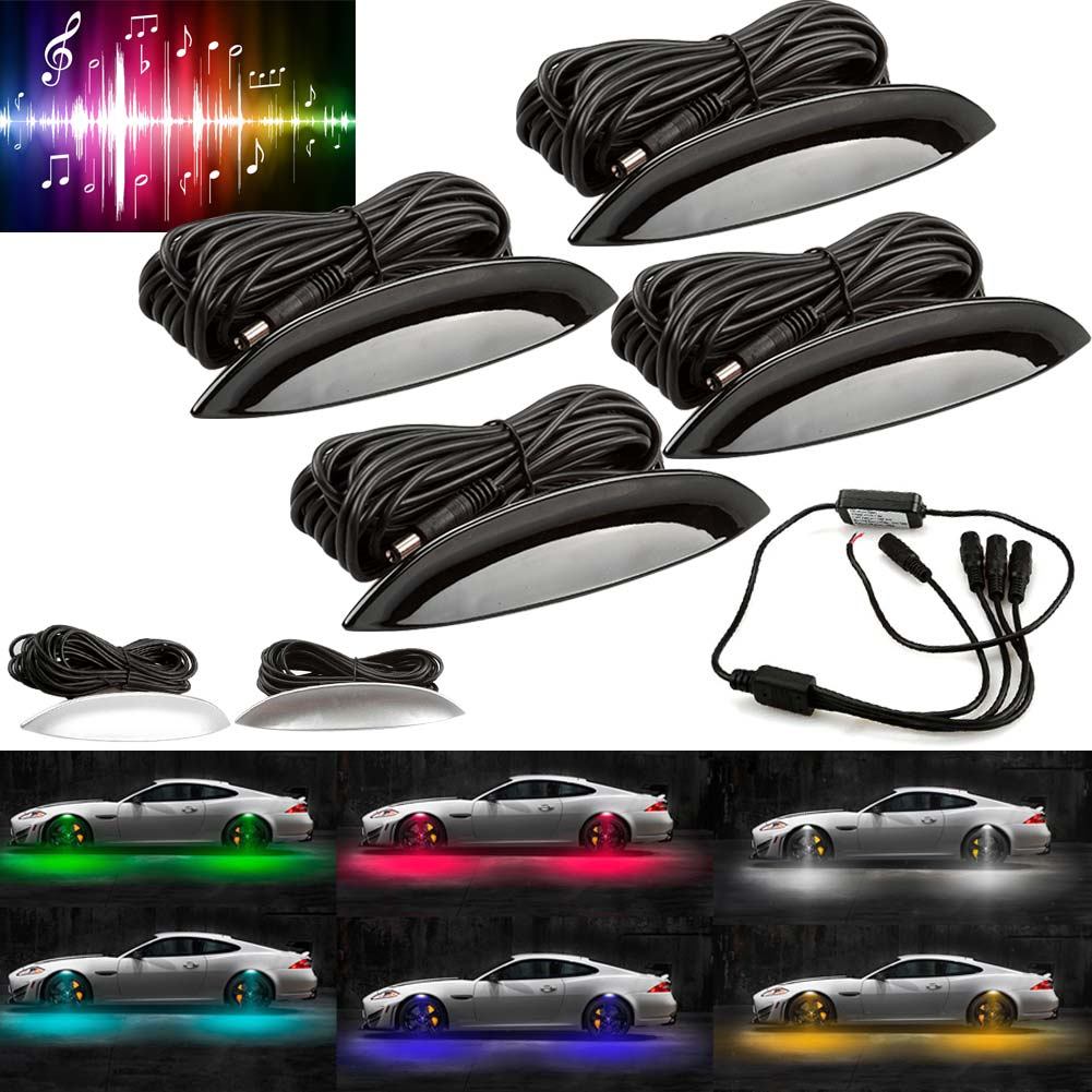 4pcs Universal Car LED Wheel Lights Auto Fender Wheel Eyebrow LED Light Tire RGB Remote Control Decor Lights CSL2017 2 x universal auto decorative side scoop vent fender decor car air flow sticker with solar led warning light freeshipping ggg