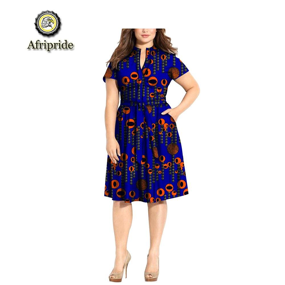 2019 vestidos africanos para mujeres AFRIPRIDE dashiki bazin riche ankara estampado puro algodón vestido de cera batik vestido casual S1825075-in Vestidos from Ropa de mujer    1