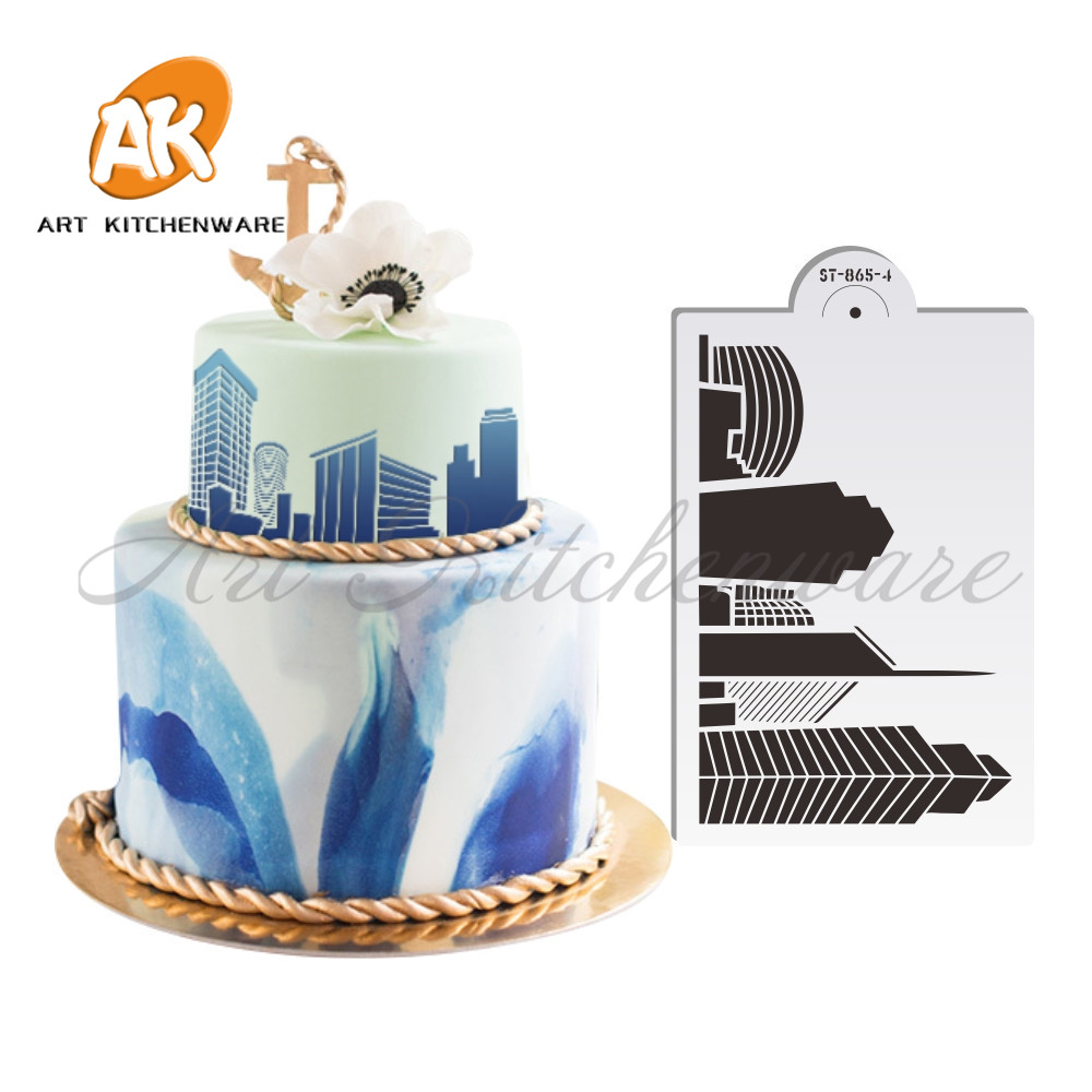Landmark Taipei 101 Wedding Cake Stencil Famous Building Decoration Fondant Tool Wall Decorating Design ST 865 4