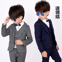 Kids Spring Wedding Suit For Boys Jacket Pant Shirt Tie 5Pcs Set Flower Boys Formal Blazer