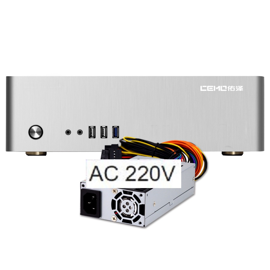 Aluminum computer case small horizontal MINI ITX HTPC chassis  include 270W power supply  220V AC computer case
