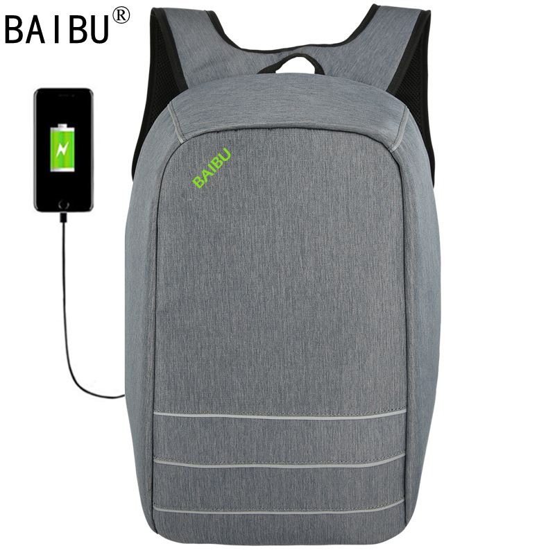 BAIBU Canvas Men Women Backpack Anti Theft With Usb Charging Laptop Business Unisex Knapsack Shoulder Waterproof Travel Bag