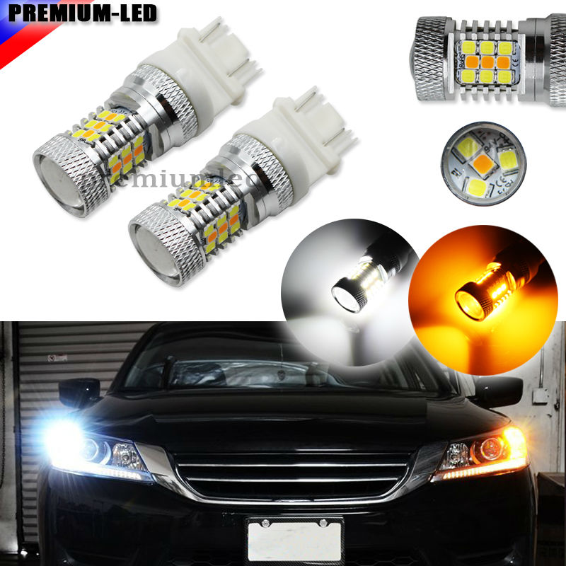 iJDM High Power White/Amber 3157 3357 3457 4157 4357 Switchback LED Bulbs For Front Turn Signal Lights, Powered By 3030 SMD LED high powered 6000k 18lm led vehicle signal lights 2 pack 12v t8 white