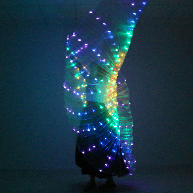 1Pc Stage Performance Props Women Dance Accessory LED Dance Wings Light Up Wing Costume LED Dance Wings Rainbow Color With Stick