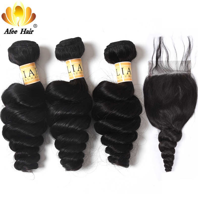 Aliafee Hair Malaysian loose Wave Bundles With Closure 100% Human Hair Extension Malaysian Hair Bundles With Closure Non Remy