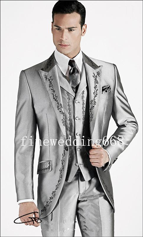 One Button Silver Embroidery Groom Tuxedos Groomsmen Mens Wedding Suits Prom Bridegroom (Jacket+Pants+Vest+Tie) NO:912