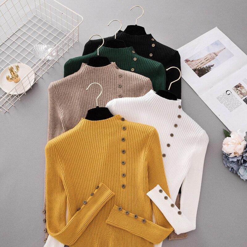 Nuevo botón de moda suéter de cuello alto Mujer primavera otoño sólido Jersey de punto las mujeres Slim suave Jersey suéter de punto
