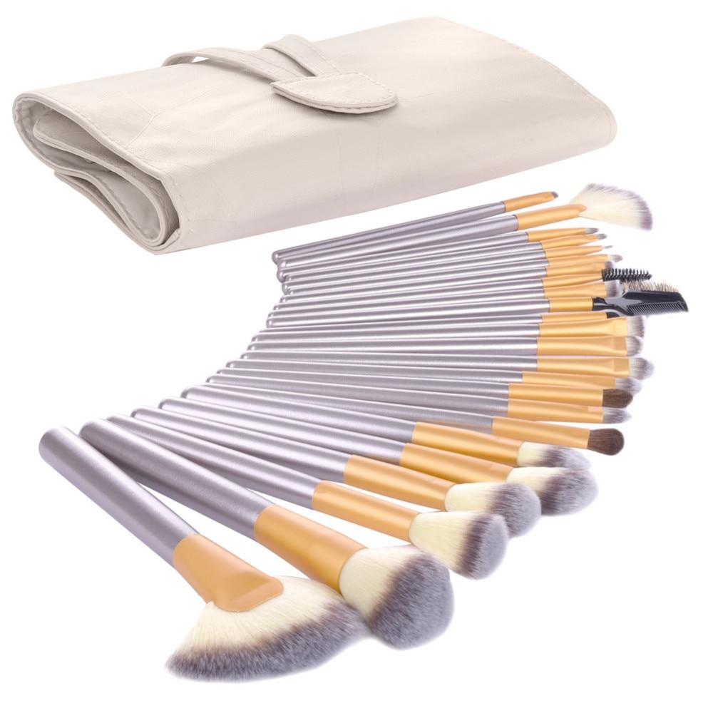 Vander Professional Soft 24pcs Makeup Brushes Set Cosmetic Make Up Tools Foundation Eyeshadow Blush Kits + Leather Bag maquiagem