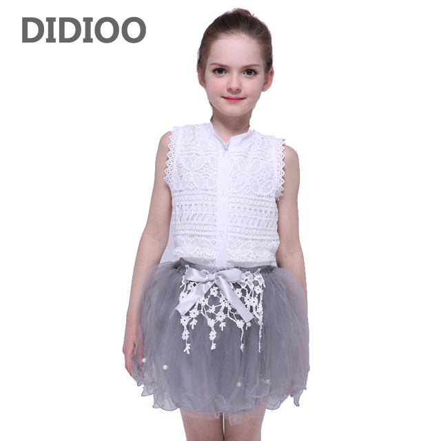 3ae9b72137 US $10.0 23% OFF|Aliexpress.com : Buy Baby Kids Clothing Sets For Girls  Lace Blouses & Skirts 2Pcs Sleeveless Children Outfits Summer Mesh Skirts  For ...