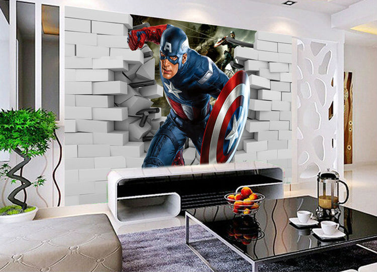 3D Captain America Wallpaper Avengers Photo Wallpaper Cool Wall Mural Boys  Kids Room Decor Club Bedroom TV Background Wall Paper In Wallpapers From  Home ...