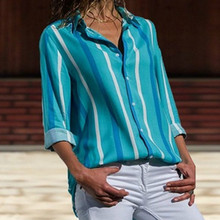 Summer Top Fashion Striped Chiffon Blouse Casual Women Blouses 2019 Long Sleeve Button Turn Down Collar Ladies Leisure Shirts